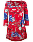 MARISOTA NEW RED FLORAL PRINT TUNIC JERSEY BLOUSE TOP T SHIRT PLUS SIZE 12-28