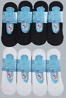 6x Pairs Mens Womens White & Black Cotton Rich Summer Invisible Trainer Socks