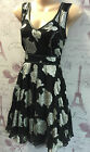 Monsoon Black Silver Floral Skater Fit & Flare Party Occasion Dress 10 - 16