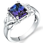 2.75 cts Radiant Cut  Alexandrite Ring Sterling Silver Size 5 to 9