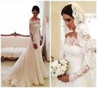 Custom Made Vintage Long Sleeve Wedding Dresses Lace White/ Ivory Bridal Gowns