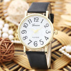 Unisex Round Dial Quartz Analog PU Leather Wrist Watch HUGE NUMBERS!