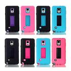 Deluxe Heavy Hybrid Rubber Front Back Case Stand Cover for Samsung Galaxy Note 4