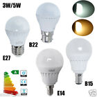 6x E14 E27 B22 B15 3W 5W LED SMD Globe Bulbs Golf Ball Lamp W/D White Spotlight