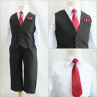 Adorable Boy solid black/white dress shirt red tie 4 pc set vest wedding party