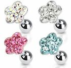 Paved Gem Flower Tragus Bar Helix Cartilage Upper Ear Piercing Stud Top Earring