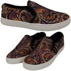 Ladies Womens New Slip On Casual Paisley Artwork Plimsoll Trainers Shoes Sizes