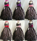 Lovely Brown fuchsia pink coral lilac purple taffeta flower girl dress all sizes