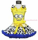 Yellow Big Eye Monster Top Blue Milk Cow Dairy Cattle Pettiskirt Outfit Set 1-8Y