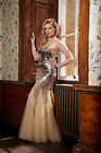 Gold Champagne Metallic Sequin Mermaid Evening Dress Pageant Prom Gown UK 8-16