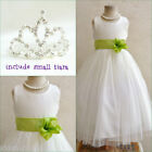 Adorable Ivory/lime green wedding flower girl dress FREE SMALL TIARA all sizes