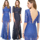 Women Lace Backless Bridesmaid Formal Wedding Party Prom Long Maxi Dress UKFO