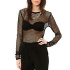 Wildbirds Women Girl Black Stretch Raw Cut Hem Long Sleeve Net Top Shirt Blouse