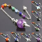 Natural Gemstone Crystal Quartz 7 Chakra Healing Reiki Point Pendulum Chain 7.5""