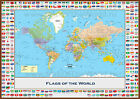 World Map With Country Flags Giant Poster Art Print - A0 A1 A2 A3 A4 Sizes