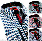 Men's Cotton striped Shirt Button down Double collar Formal Casual Long sleeve