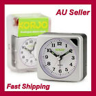 New Korjo Sml Quartz Analogue Travel Alarm Clock Silver for Traveveller AAC73 AU