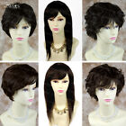 100% Real Human Hair Brown Natural Long Straight  Ladies Wigs Short Wavy WIWIGS