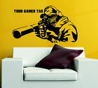 Call Of Duty Style Sniper Ghost Personalised Gamer Tag Decor Vinyl Wall Sticker