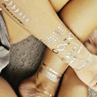 Metallic Temporary Tattoos Stickers Golden Silver Body Jewelry Fancy Makeup 1pcs