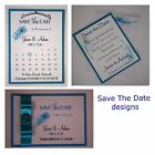 Handmade PEACOCK FEATHER wedding : SAVE THE DATE; 3 designs, 60 colours/any qty