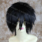 Jet Black Man's Wig Short Spikey Style Ladies Wigs Cosplay Wig from WIWIGS UK