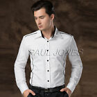 3colors Men's Casual Fitness Dress Boy Shirts Tops Business Formal Suits Shirt