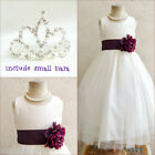 Adorable Ivory/plum purple flower girl party dress FREE SMALL TIARA all sizes