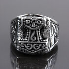 Men's Carved Thor's Hammer Religious Totems Stainless Steel Biker Finger Rings
