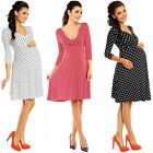 Zeta Ville Women's Maternity Wrap V-neck Polka Dot Dress Summer Spot Dress 017c