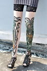 Tiger & Dragon Lace Topped Hold Up Tattoo Stockings One Size (Tights, Legwear)