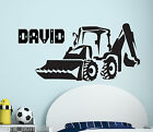 Personalised Name Boys Wall Art Sticker -, Digger, JCB Tractor