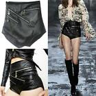 Black Shorts Lady High Waist Motorcycle Triangle Faux Leather Shorts LO UK-dk69-