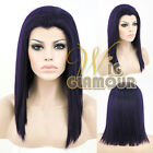 """Long Straight 16"""" Black Mixed Purple Lace Front Wig Heat Resistant"""