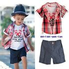 NEW BOYS 3 PIECE 3-4 4-5 YEARS WHITE RED TOP, SHIRT & BLUE SHORTS CASUAL PARTY