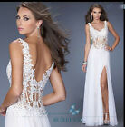 White Long Chiffon Evening Dresses Formal Party Prom Bridemaid Dresses Size 6-16