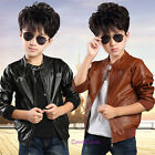 2017 New Fashion Spring Winter Toddler Kids Boys Cool Leather Jacket Coats 4-14Y
