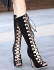 Womens Lace Up Gladator High Heels Sexy Strappy Over The Knee High Boots Shoes