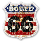 2 x 10cm Route 66 Vinyl Sticker Laptop Car Bike Travel Luggage USA America #6031