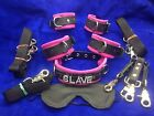 10 pc leather personalized restraint costume set blindfold wrist cuffs  ankle