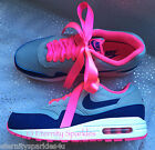 NIKE AIR MAX 1 GREY, ROYAL BLUE, HYPER NEON PINK RIBBON LACES LADIES TRAINERS