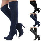 Ladies Faux Suede or Leather Over The Knee Thigh High Stiletto Pointed Toe Boots