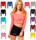 New Ladies/Womens Crop Top Long Sleeve Crew Scoop Neck, Short T Shirt  Bralet