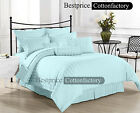Sale Light Blue Solid & Striped ! 1000TC All Size Duvet Fitted Flat & Sheet Set