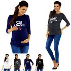 Zeta Ville Maternity - Womens Pregnancy QUEEN MUM funny print T-shirt Top - 209c
