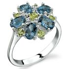 Flower Design 3.25 ct London Blue Topaz Peridot Ring Sterling Silver Size 5 to 9