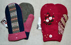 HANDMADE 100% WOOL recycled sweater MITTENS, Fleece Lined Fair Isle  Embroidered