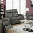 Tufted Modern Bonded Leather Reclining Loveseat
