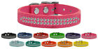 Two Row Clear Jeweled Leather Dog Collars - 2 Row Clear Crystals