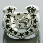316L Silver Horseshoe Lucky Number 13 Black Stars Stainless Steel Finger Rings